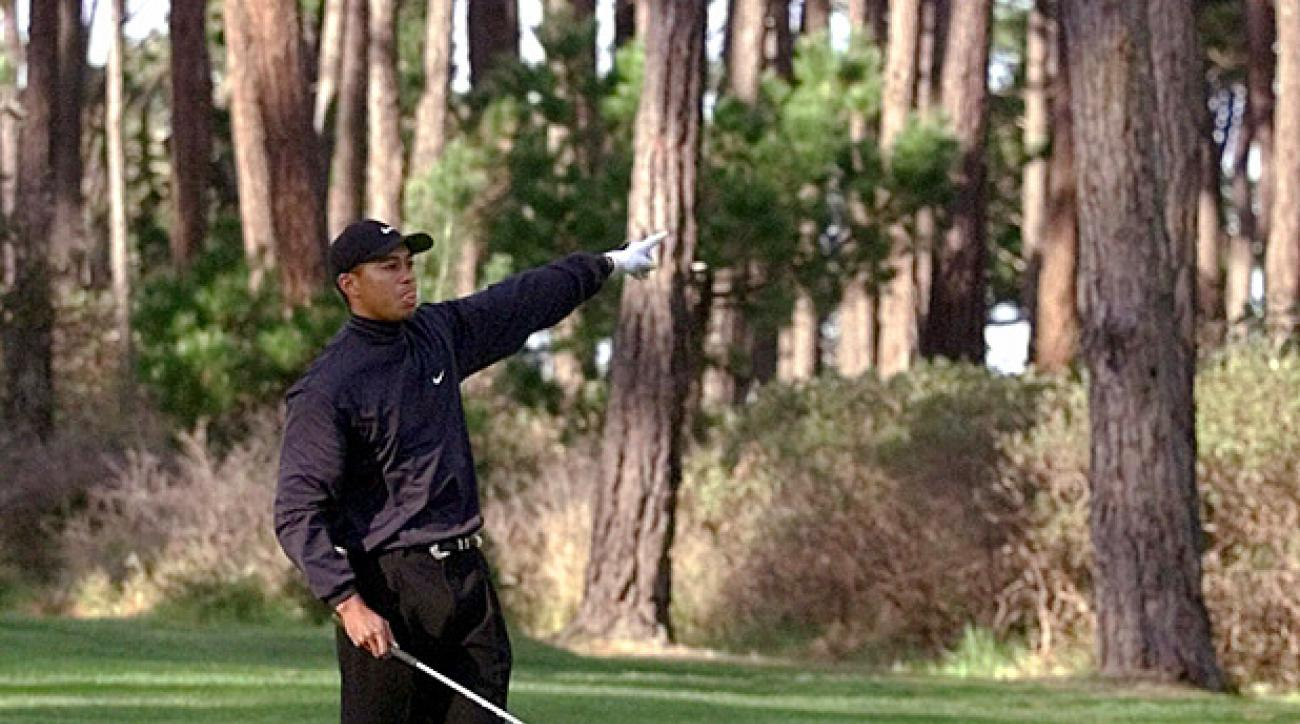 Tiger Woods at Poppy Hills during his victory at the 2001 AT&T Pebble Beach National Pro-Am. (Credit: AP)
