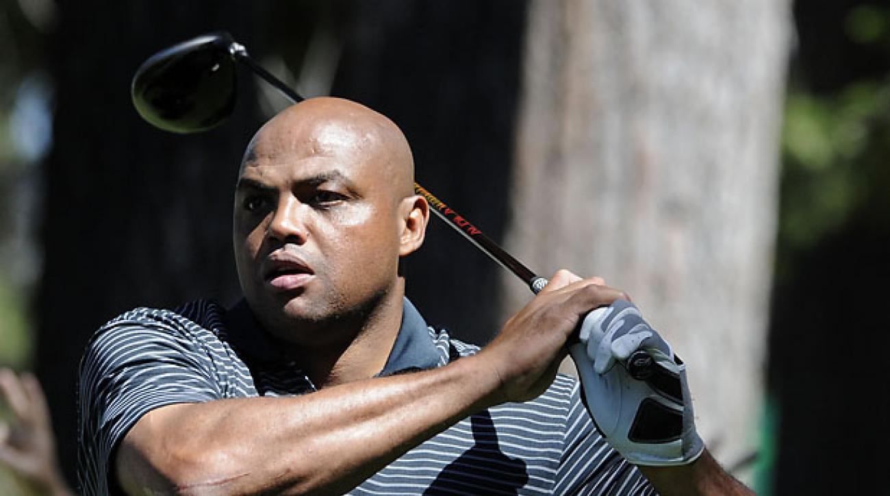 Charles Barkley tees off on the eighth hole during the 20th annual Lake Tahoe Celebrity Golf Championship at Edgewood Tahoe Golf Club in Stateline, Nev., Thursday, July 16, 2009. The celebrity golf championship is celebrating its 20th anniversary. (AP Photo/Reno Gazette-Journal, David B. Parker) ** NEVADA APPEAL OUT. **