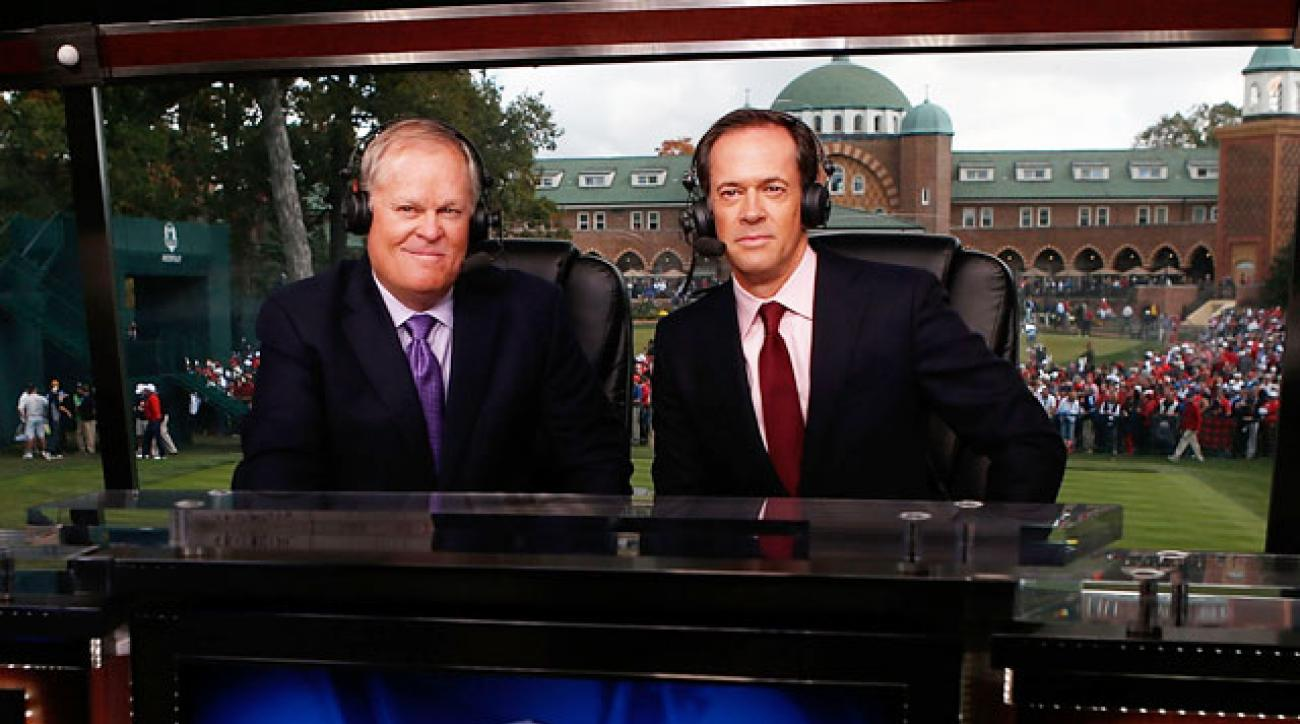 Johnny Miller alongside Dan Hicks at the 2012 Ryder Cup.