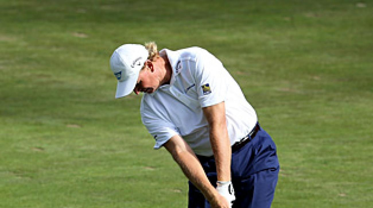 Ernie Els made eagle on No. 17 to get to two over for the tournament.