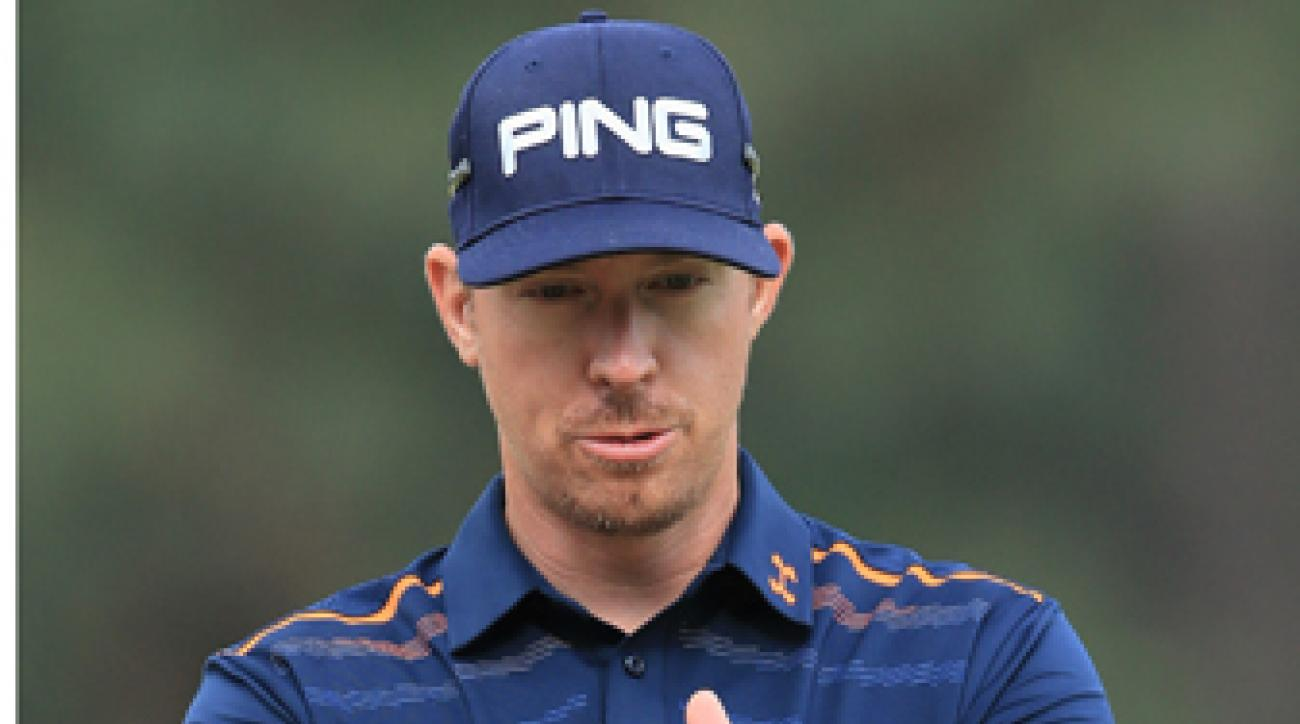 Hunter Mahan and Jamie Donaldson played each other's ball from the 18th fairway and were hit with two-shot penalties.