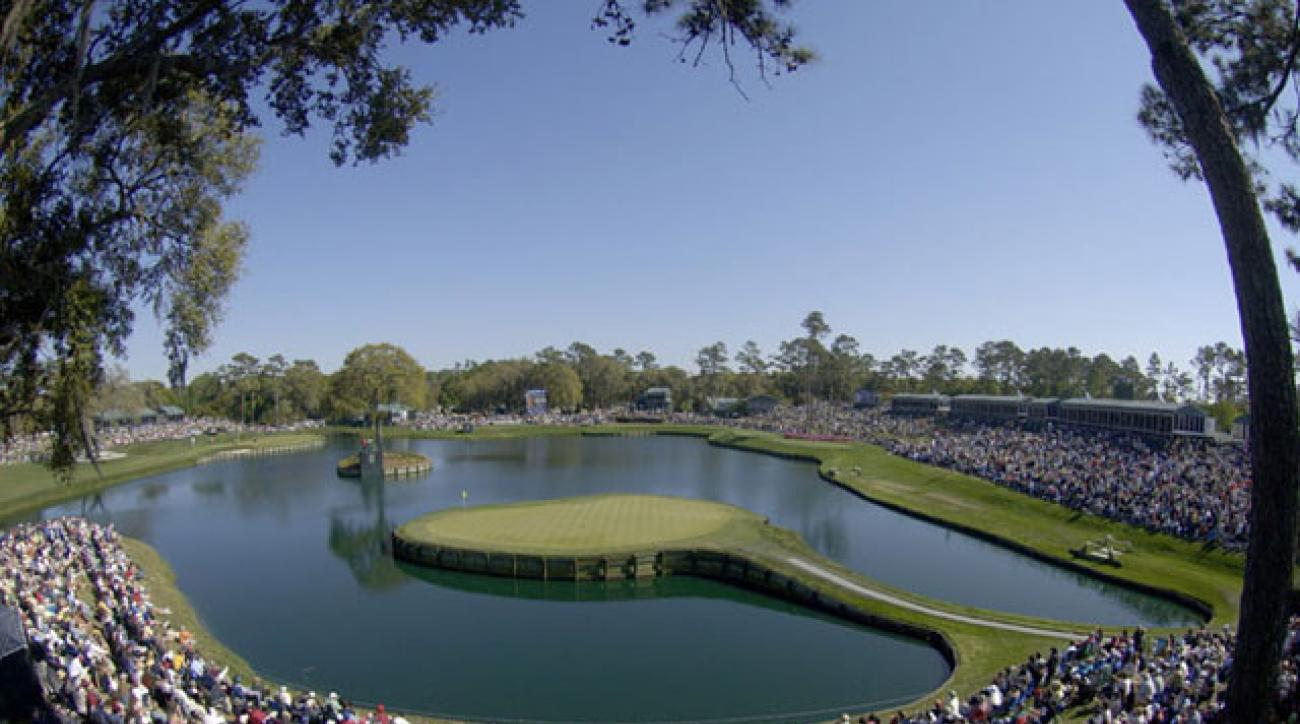 The 17th hole at TPC Sawgrass.