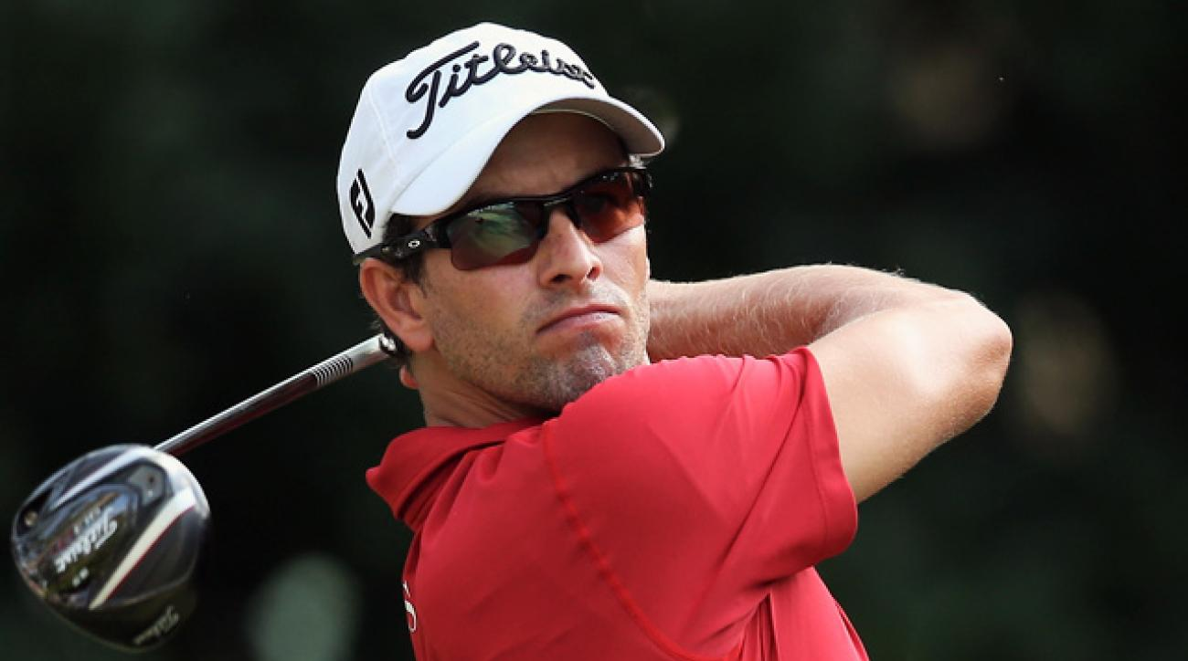Adam Scott tees off on the 11th hole at TPC Sawgrass during the second round of the Players Championship.