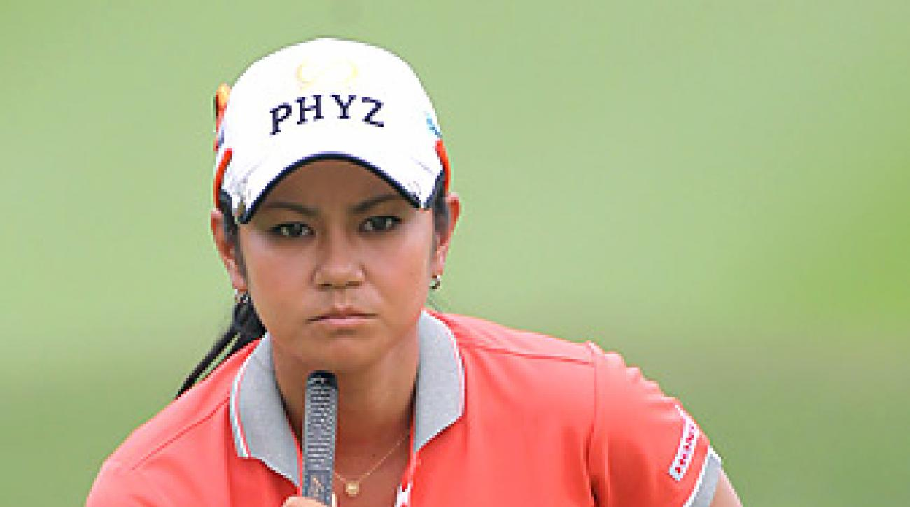 Ai Miyazato, shown here at the LPGA Thailand withdrew from the HSBC after hitting balls for about 15 minutes.