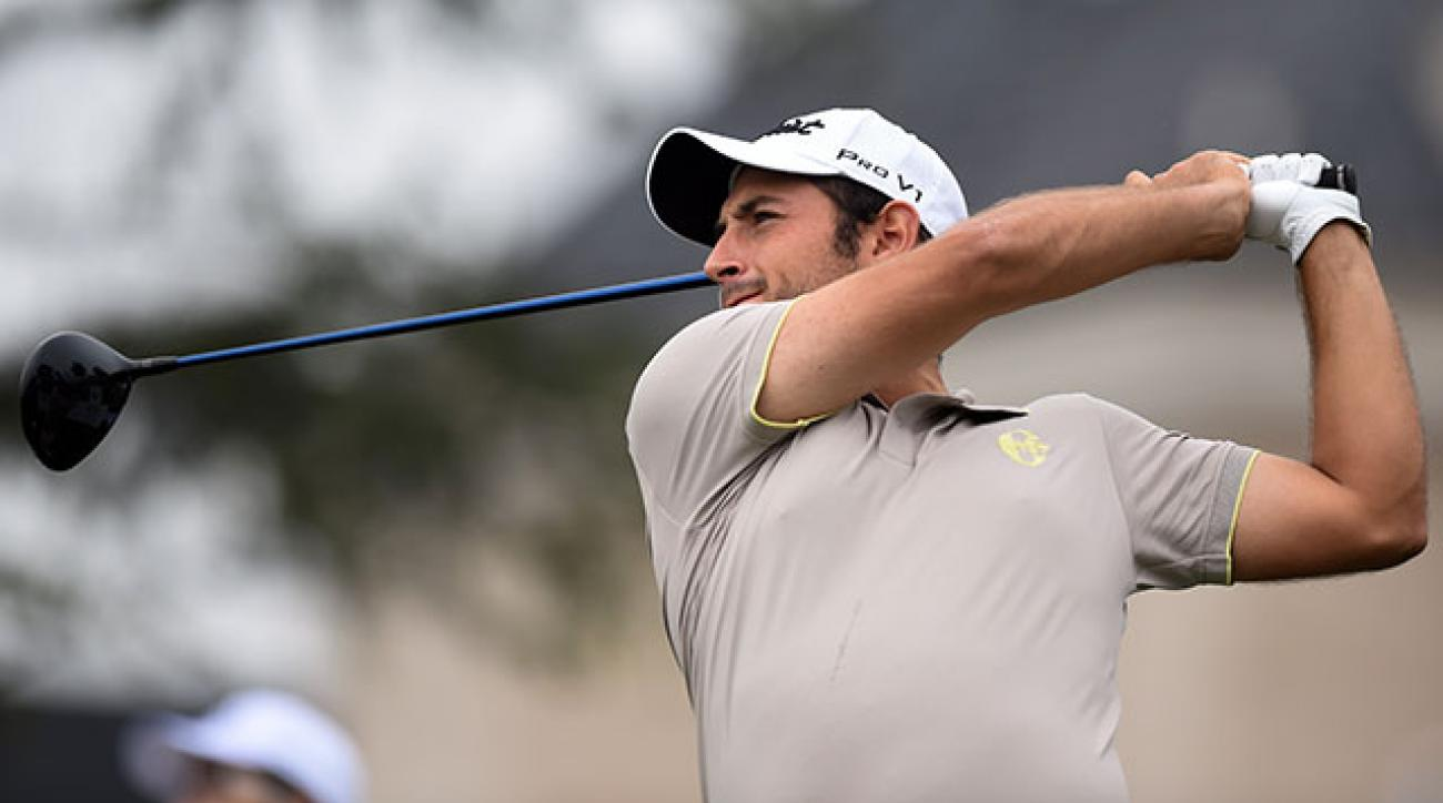 Alexander Levy tees off on the 10th hole during the first round of the BMW Masters in Shanghai.