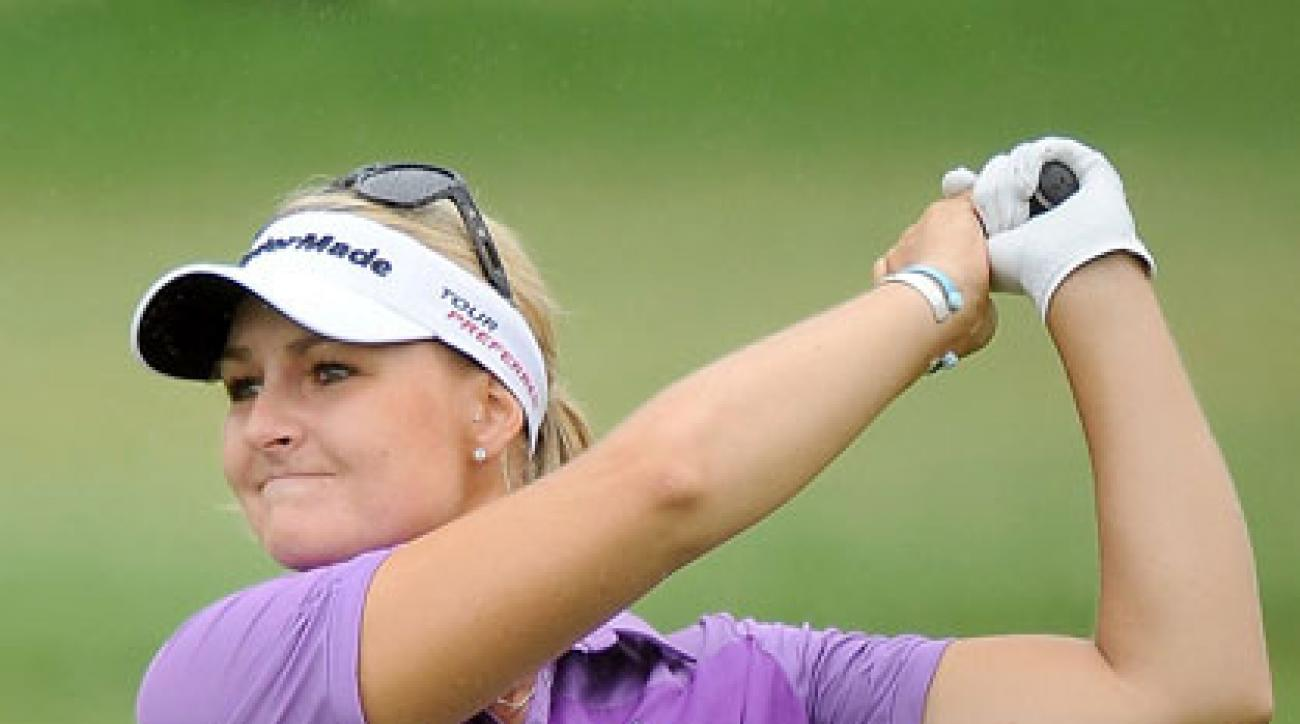 Anna Nordqvist plays her shot during the second round of the Honda LPGA at Siam Country Club in Chonburi, Thailand.