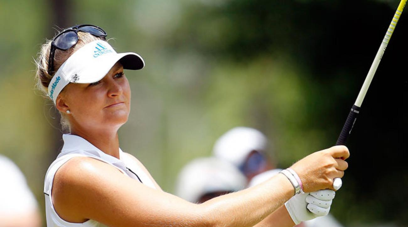 Anna Nordqvist watches her tee shot during the third round of the Airbus LPGA Classic.