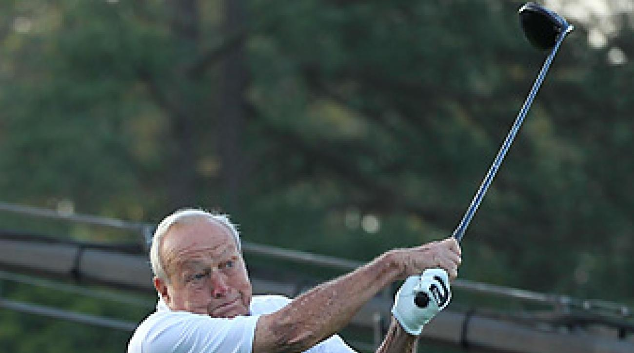 Arnold Palmer. shown here hitting a ceremonial tee shot at the 2012 Masters, never won a PGA Championship.