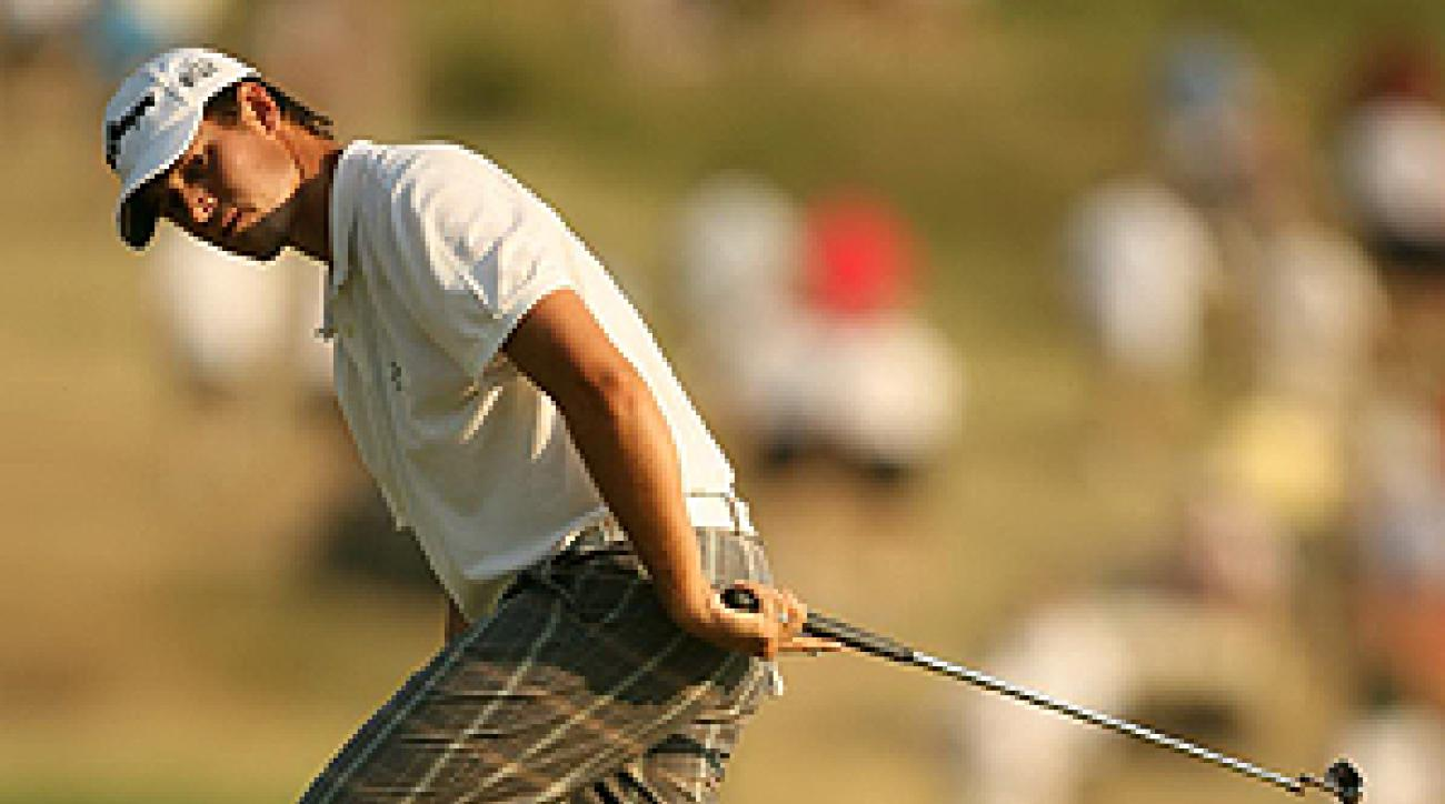 Aaron Baddeley's magical putting helped him reach the top of the leaderboard Saturday at the 2007 U.S. Open.