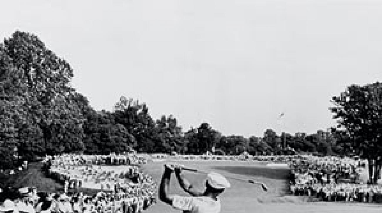 The iconic image from the 1950 U.S. Open was this 1-iron shot by Hogan on No. 18 at Merion.