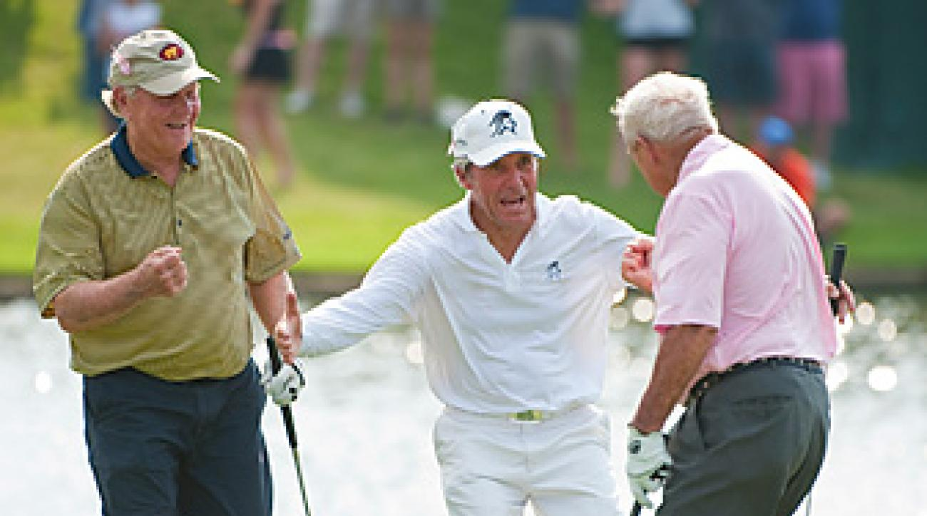 Jack Nicklaus, Gary Player and Arnold Palmer teamed up to shoot 11 under in a scramble event.