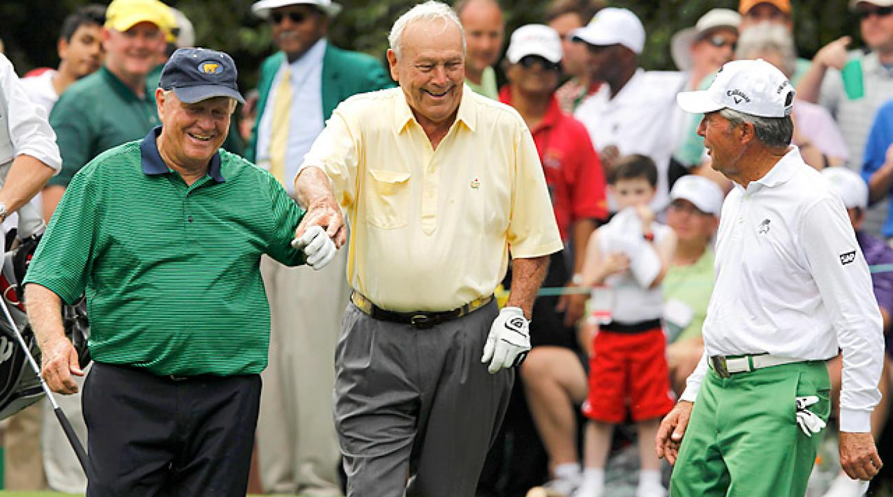 Jack Nicklaus (left), Arnold Palmer (center) and Gary Player have won a combined 13 Masters titles.