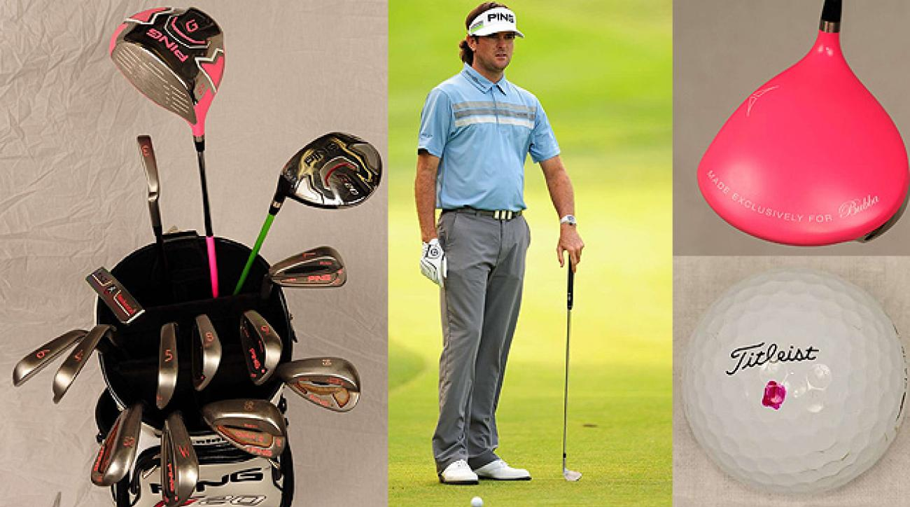 Bubba Watson Ping clubs, apparel, G20 driver and Titleist Pro V1x ball.