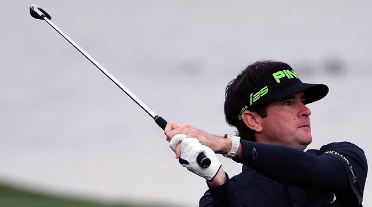 Bubba Watson watches his shot on the 15th hole during the second round of the Waste Management Phoenix Open.