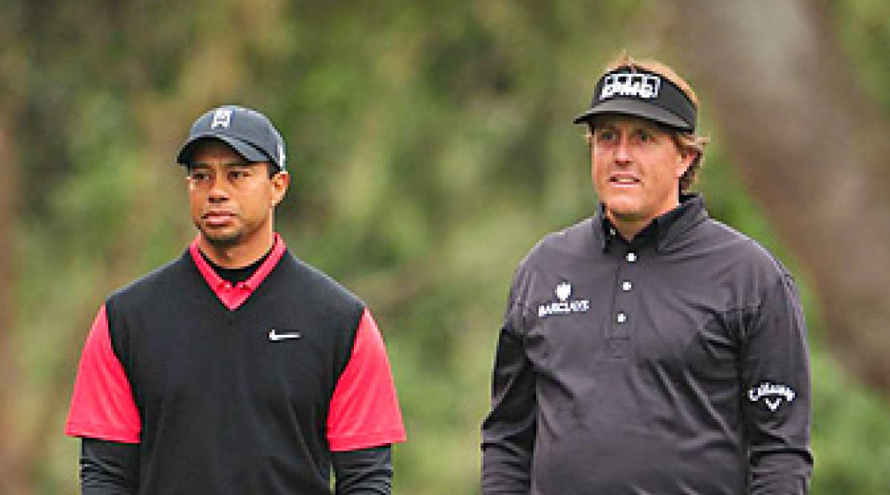 Tiger Woods and Phil Mickelson (shown here at the 2012 Pebble Beach Pro-Am) are popular choices for teams in a dream 'Re-Match.'