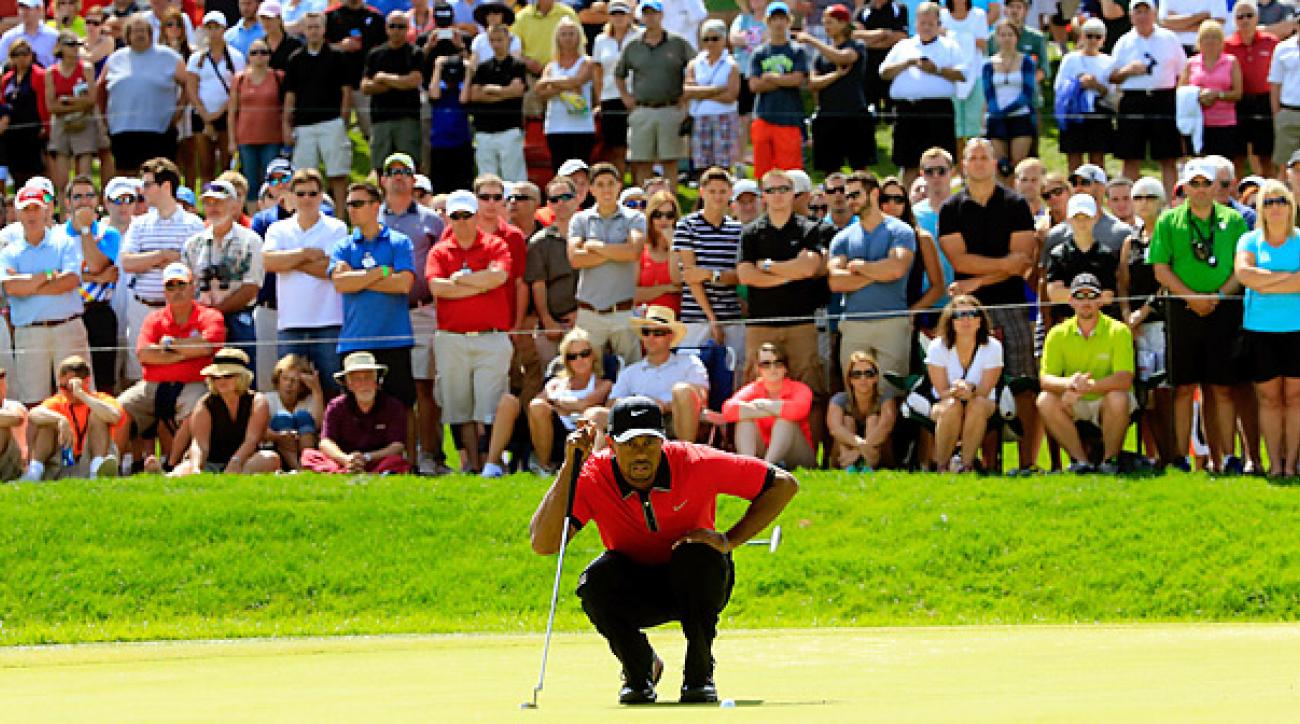 Tiger Woods made 16 pars en route to a stress-free seven-shot victory Sunday at the Bridgestone Invitational.