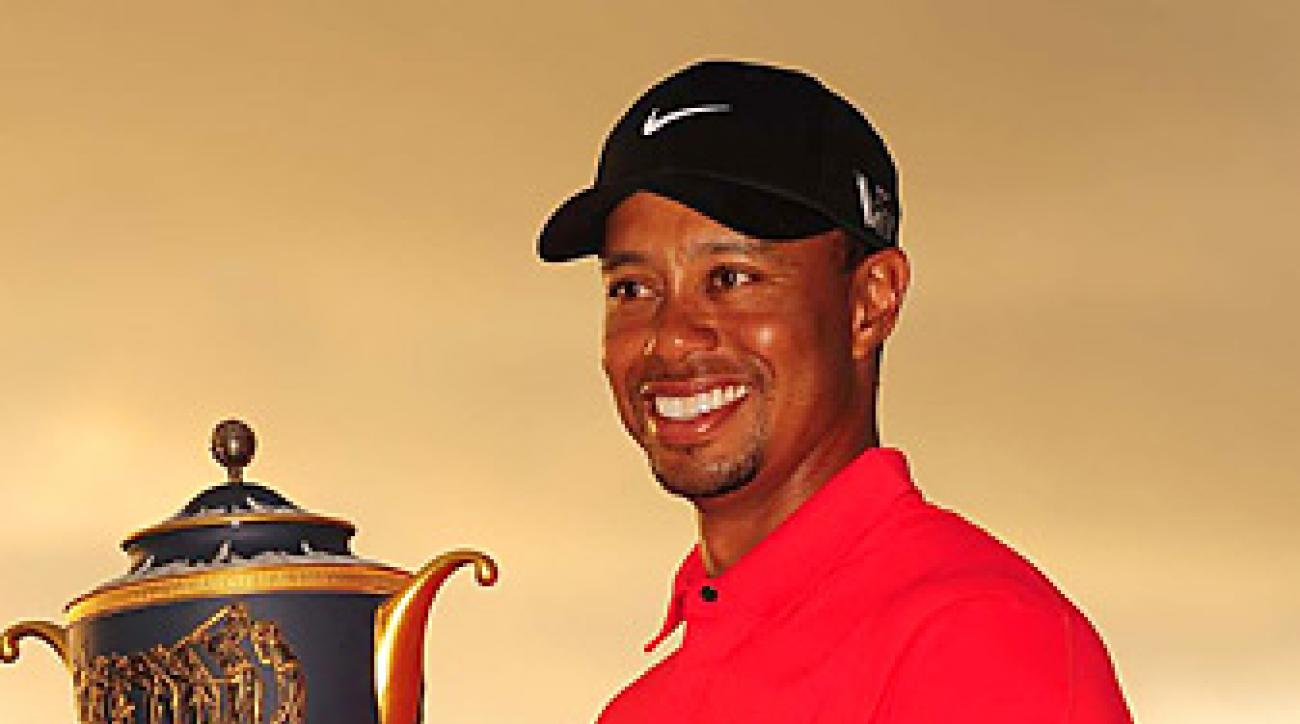 Tiger Woods lifted his 76th career PGA Tour trophy after winning by two shots at Doral.
