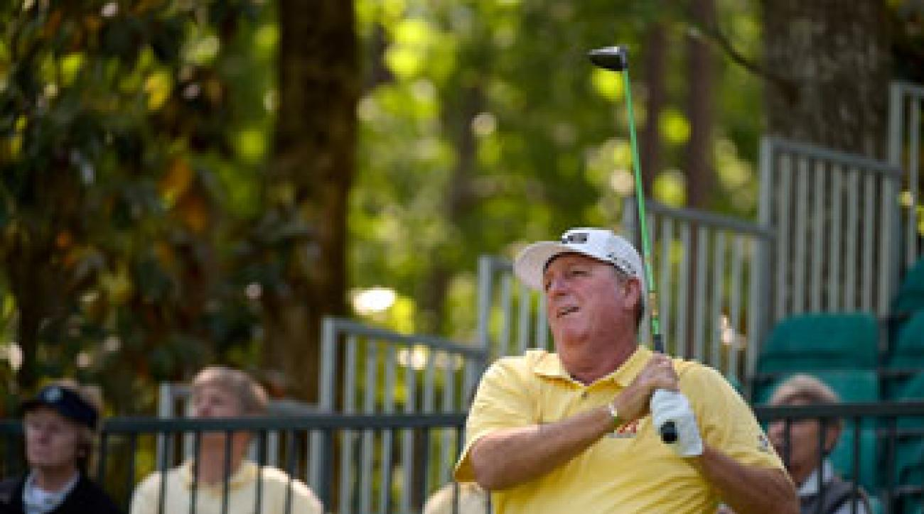 Mark Calcavecchia hits a shot on the 14th hole during the second round of the Regions Tradition at Shoal Creek.