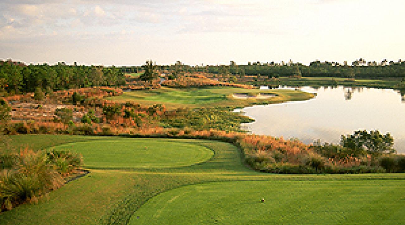 The par-3 6th hole at Camp Creek, a Tom Fazio gem in northwest Florida.