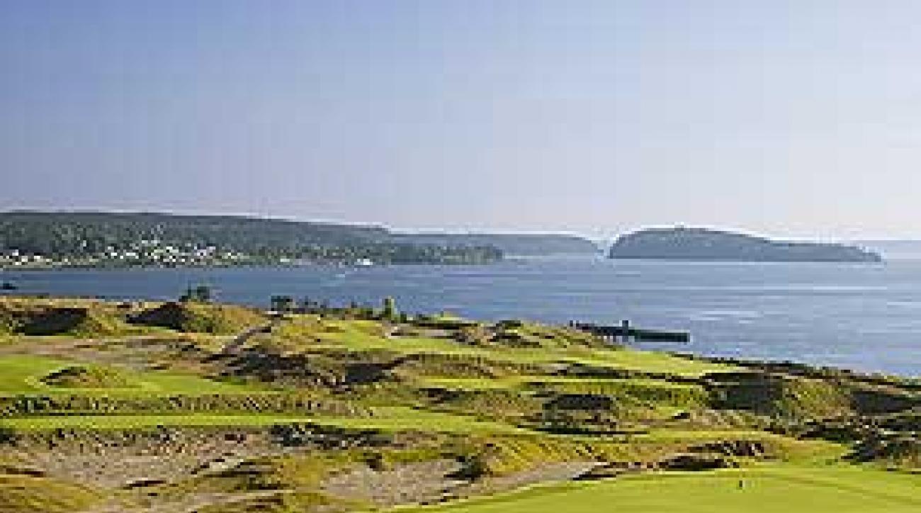 The 521-yard, par-3 14th at Chamber's Bay Golf Club