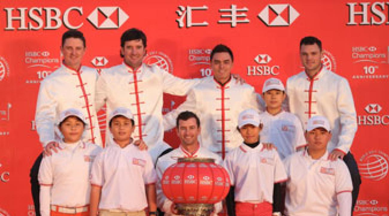 Chinese Golf Association juniors join Justin Rose, Bubba Watson, Adam Scott, Rickie Fowler and Martin Kaymer prior to the WGC - HSBC Champions.