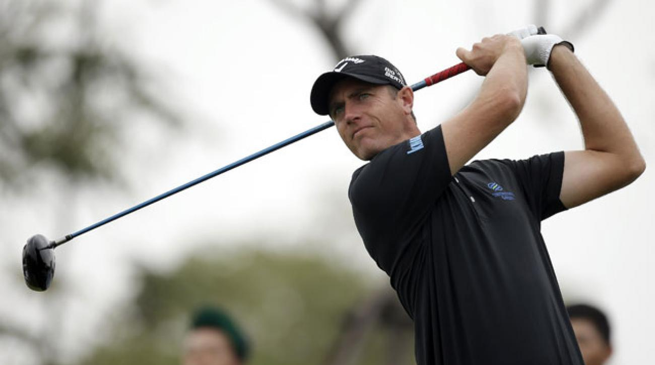 Big-hitting Nicolas Colsaerts leads the BMW Masters by a shot.