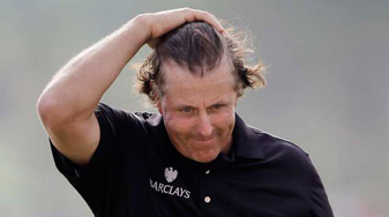 Phil Mickelson's daredevil approach cost him two strokes in Sunday's final round.