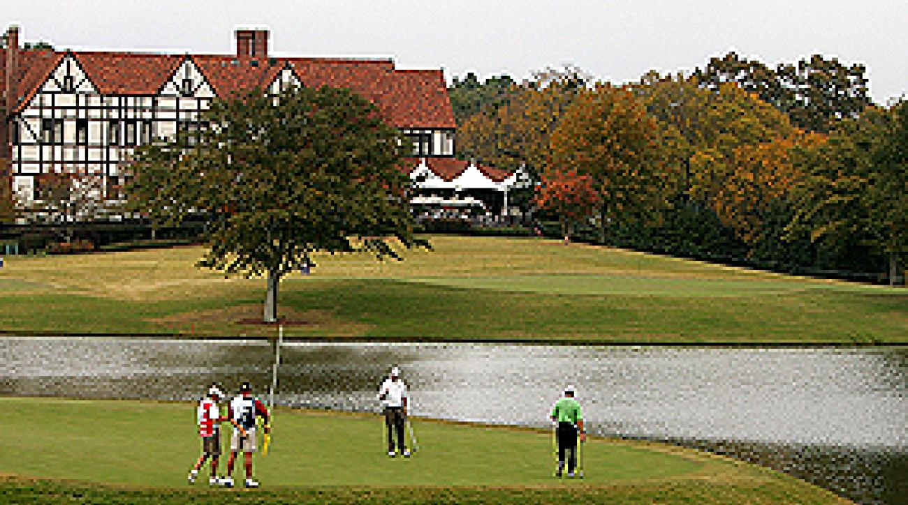 """There is plenty of water on East Lake, home of the Tour Championship. <span class=""""picturesource"""">Getty Images</span>"""