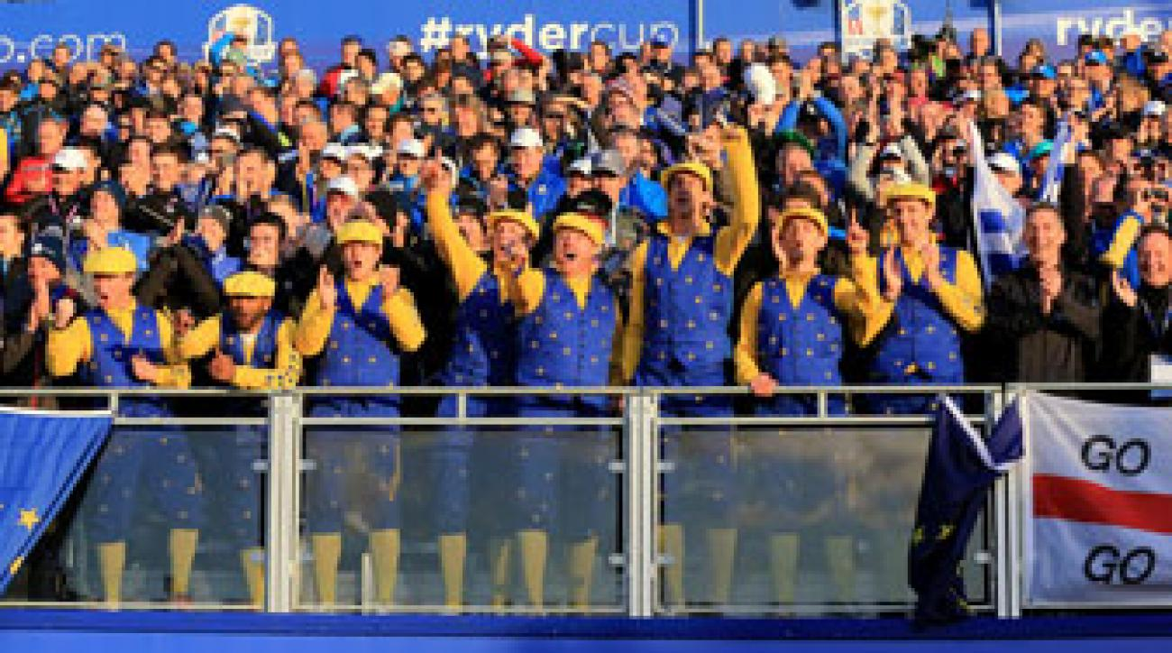 European fans arrived at Gleneagles bright and early to show spirited support for Paul McGinley's squad.