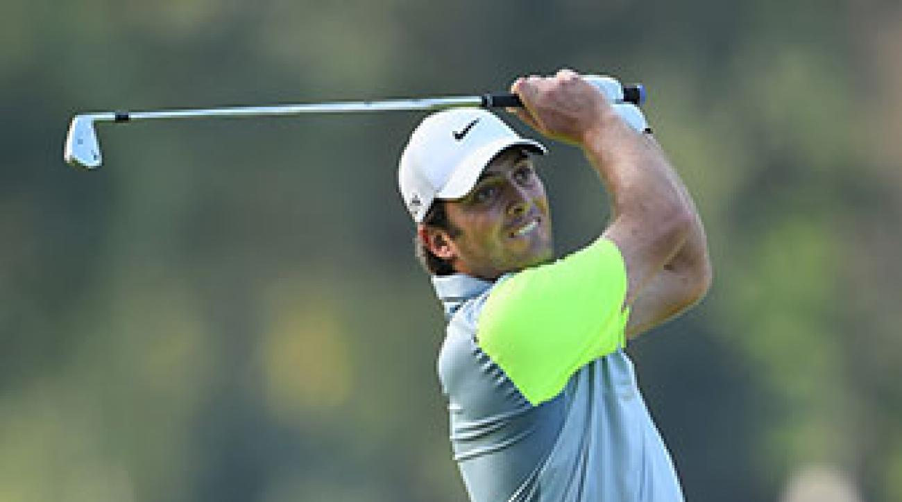 Francesco Molinari of Italy plays a shot during the first round of the Italian Open.