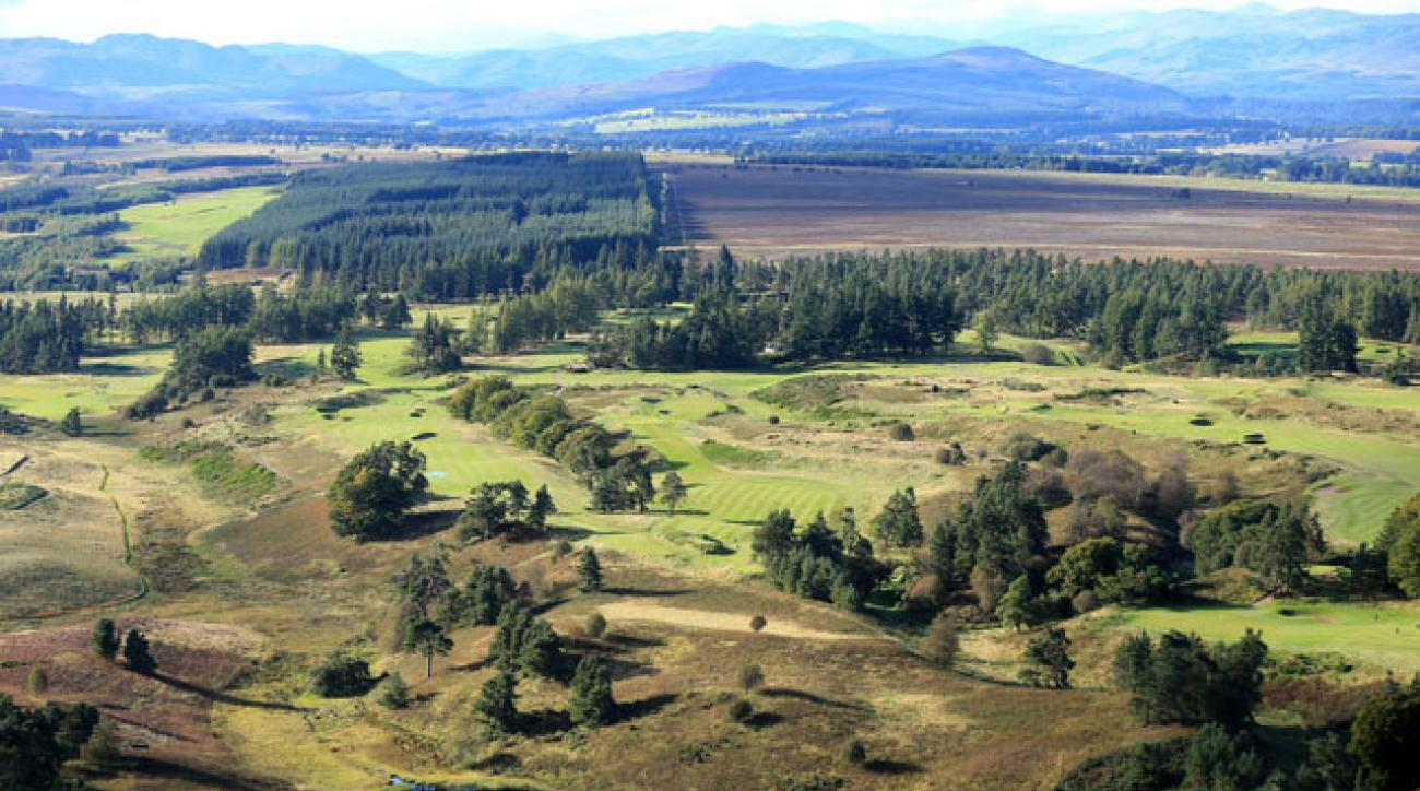 An aerial view of the 6th, 7th, 8th, 9th and 10th hole on Gleneagles' King's Course.