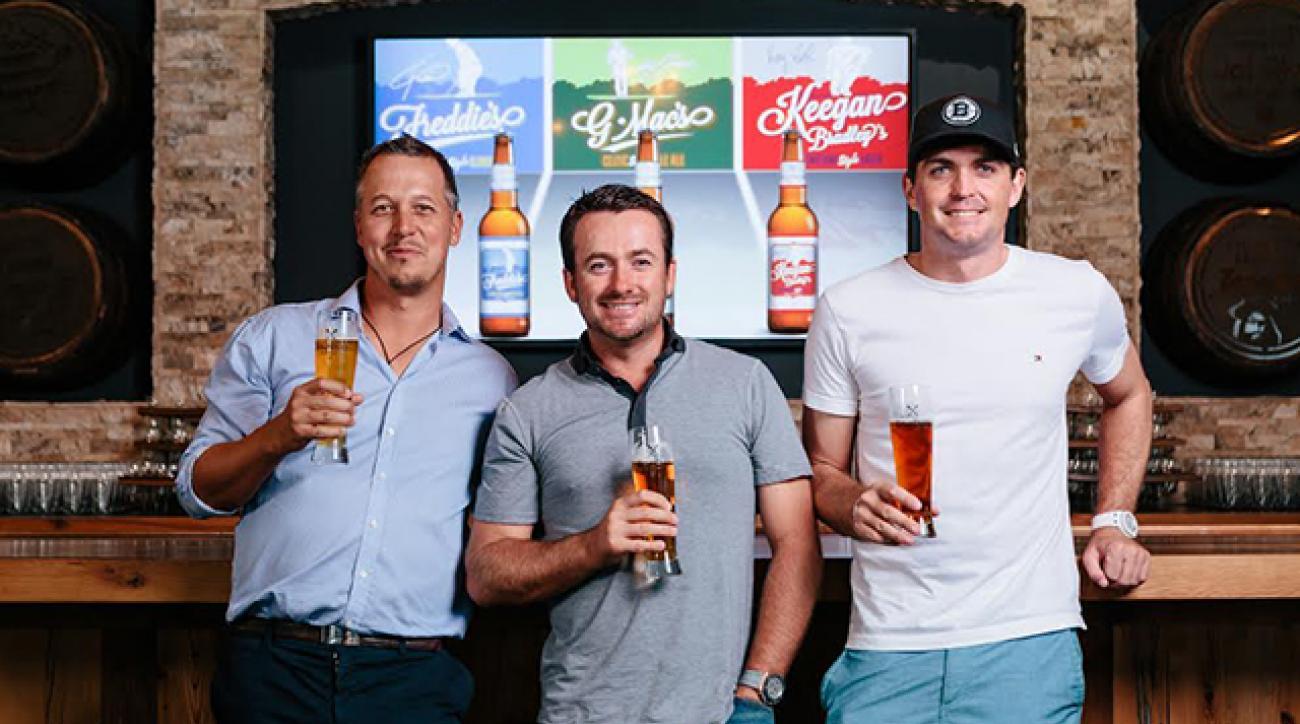Freddie Jacobson, Graeme McDowell and Keegan Bradley with their GolfBeer brands.
