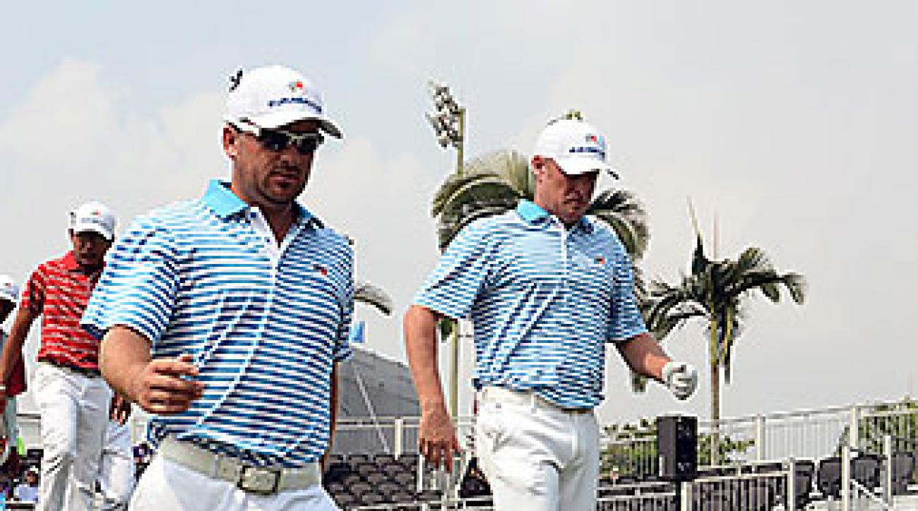 Graeme McDowell and Jamie Donaldson gave Team Europe its only full point of Day Two.