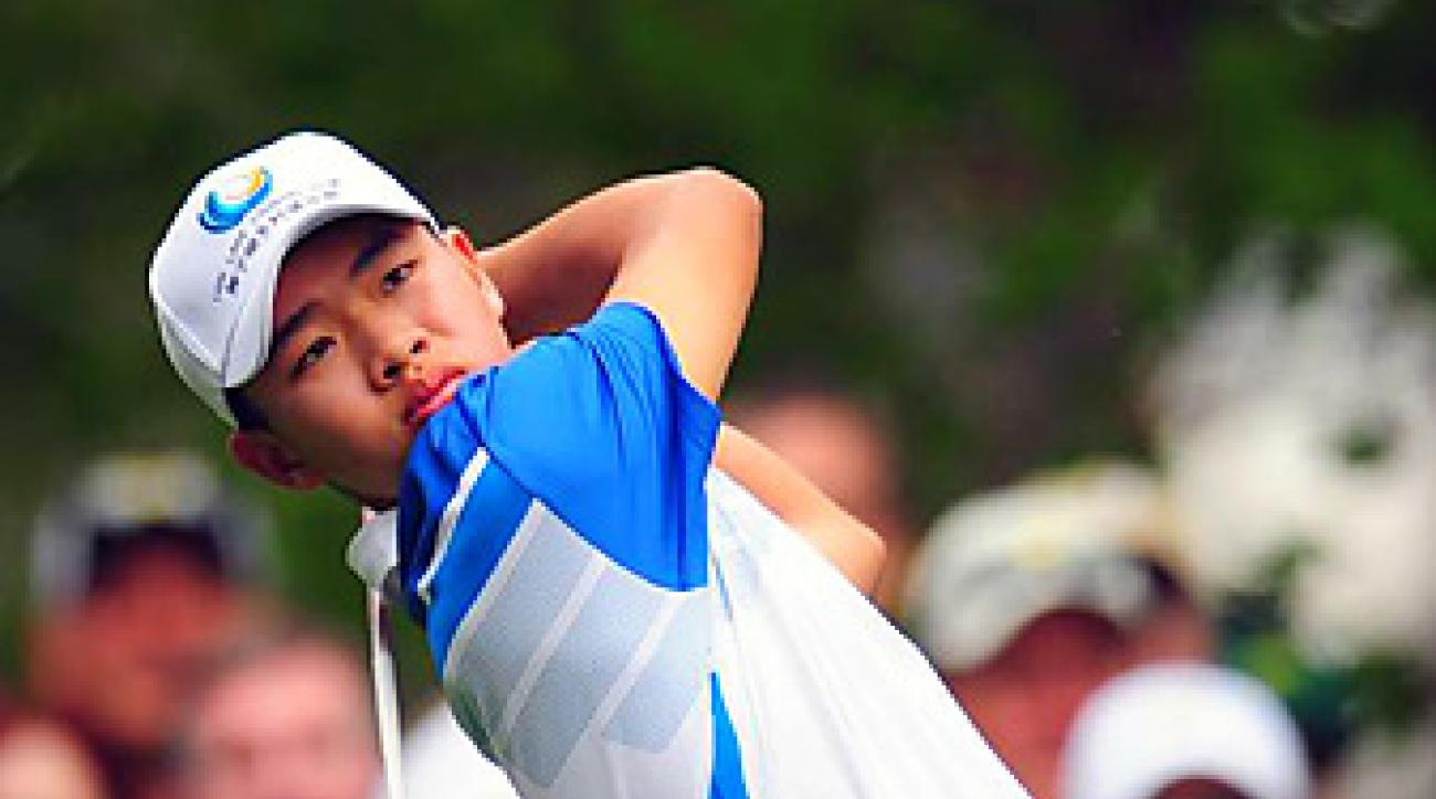 Tianlang Guan made the cut at the Masters (pictured) and in New Orleans before an MC at the Byron Nelson.