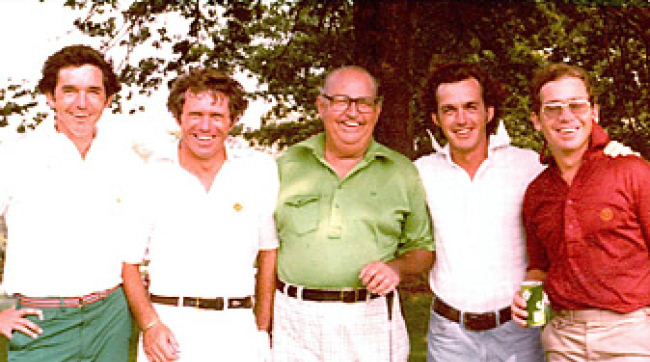 Bill Harmon (right, in blue pants) with, from left, brothers                 Craig and Butch, father, Claude, and, far right, brother Dick.