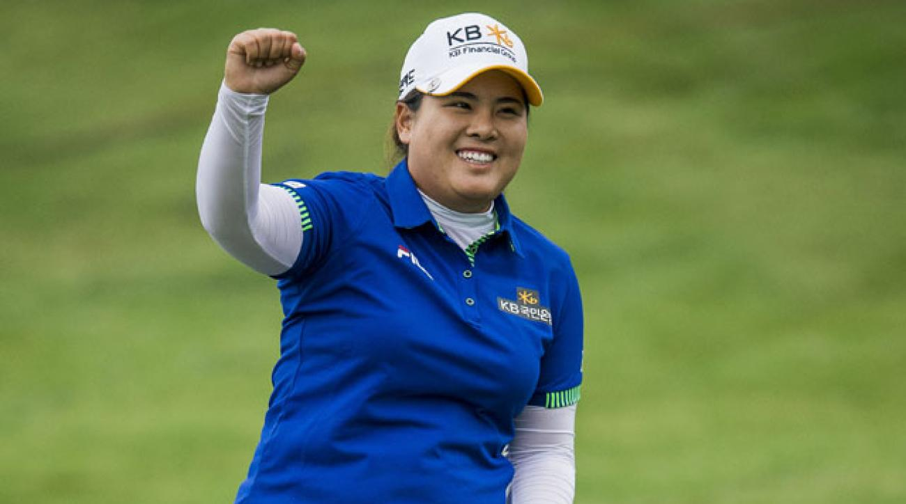 Inbee Park celebrates on the 18th green after winning the Taiwan Championship at Miramar.