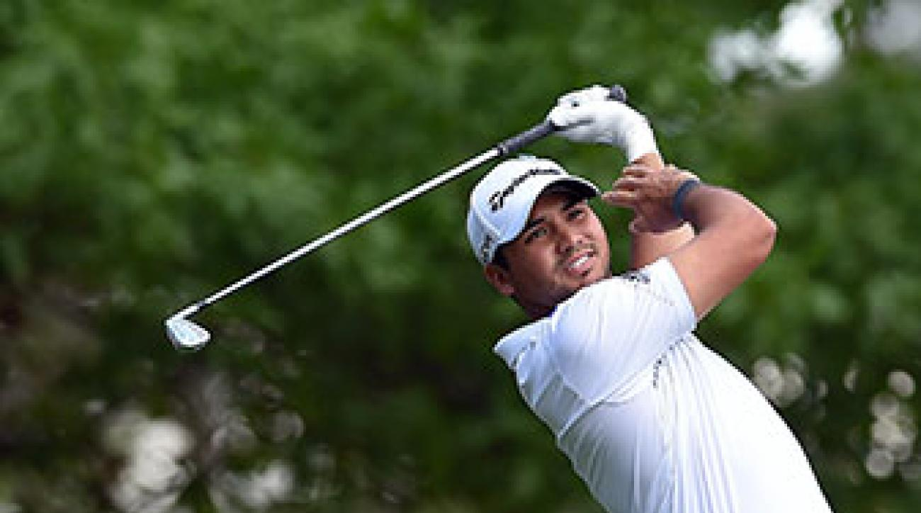 Jason Day of Australia tees off on the fourth hole during the final round of the Masters.