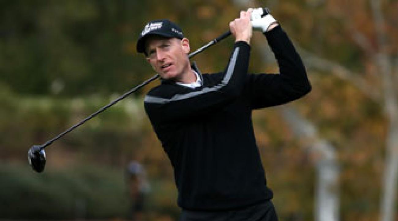 Jim Furyk hits a tee shot at the Northwestern Mutual World Challenge in December. The Tour veteran returns to action this week at Pebble Beach.