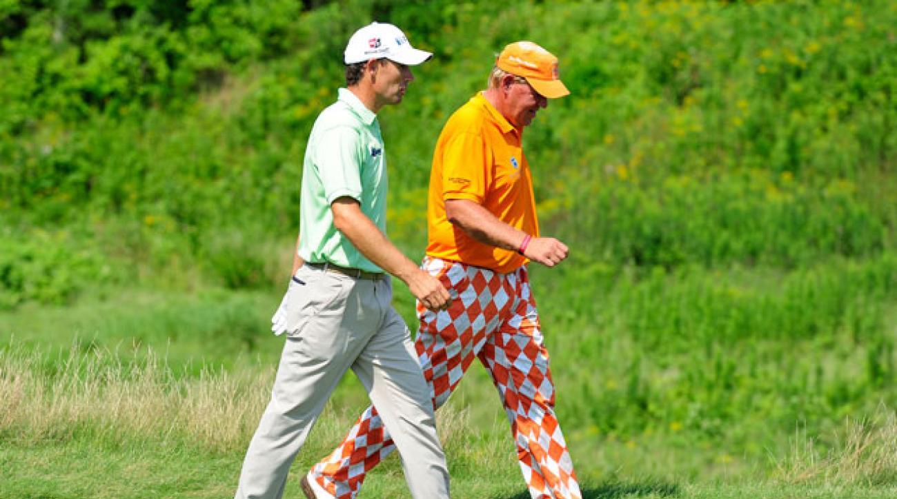 Padraig Harrington and John Daly play the 10th hole during the 2010 PGA Championship at Whistling Straits.