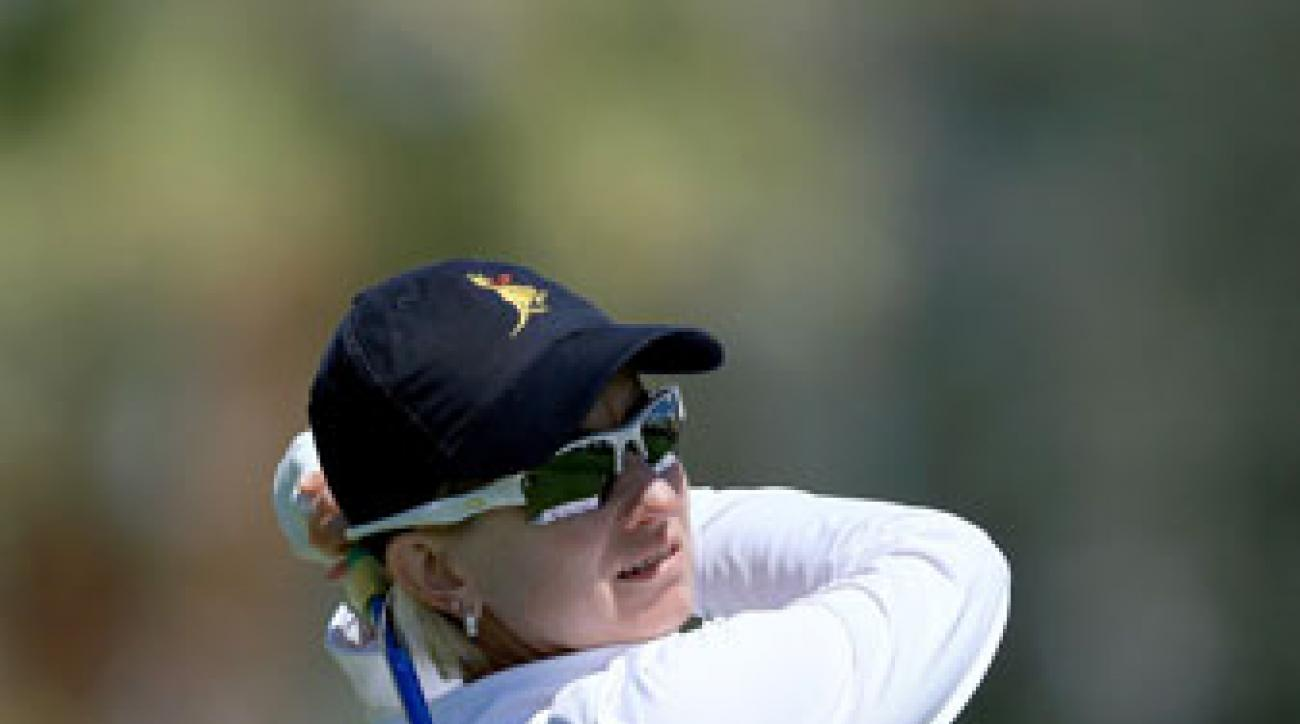Karrie Webb plays the pro-am Wednesday at the 2014 Kraft Nabisco Championship.