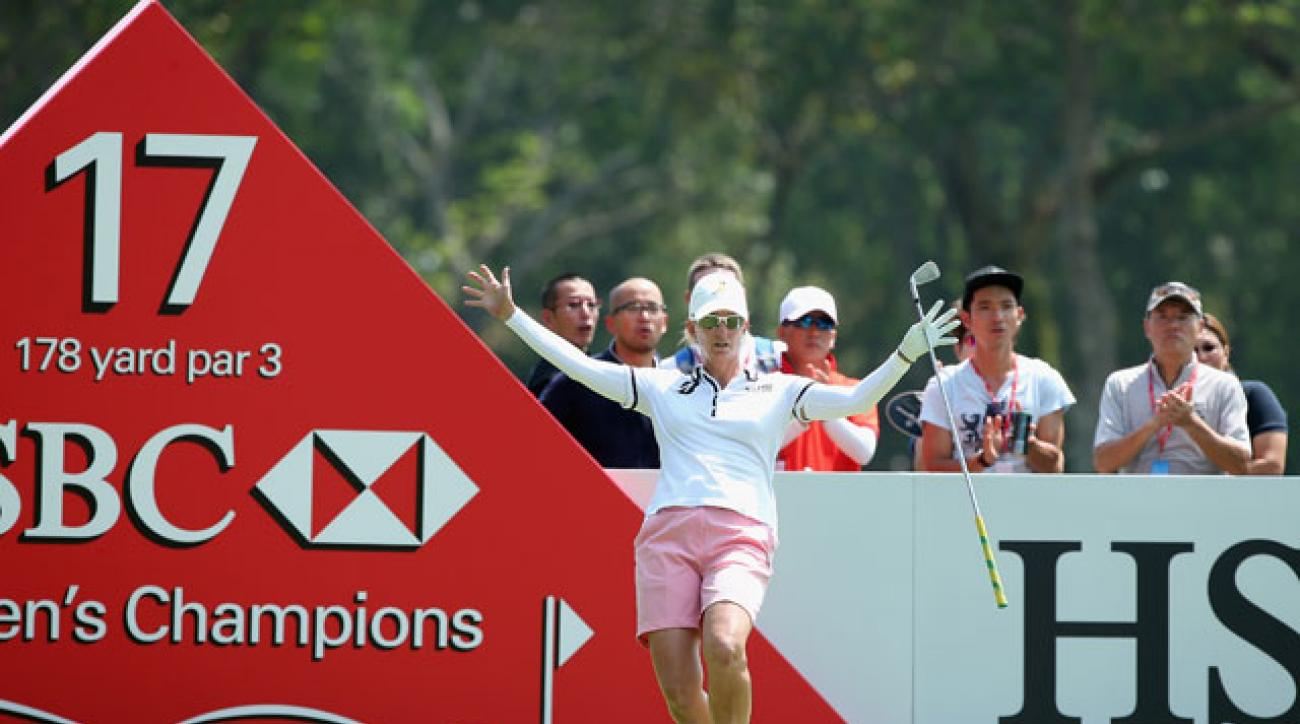 Karrie Webb reacts after nearly holing her tee-shot on the 17th hole during the second round of the HSBC Women's Champions in Singapore.