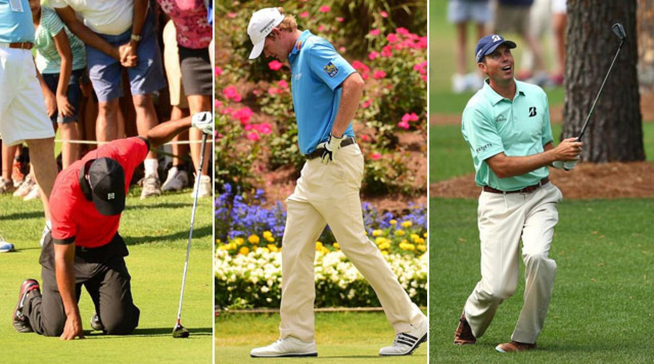 Tiger Woods (left), Brandt Snedeker (middle) and Matt Kuchar (right) were three injured casualties of the first wraparound Tour season.