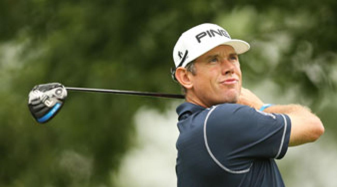 Lee Westwood tees off on the 11th hole during the second round of The Barclays.