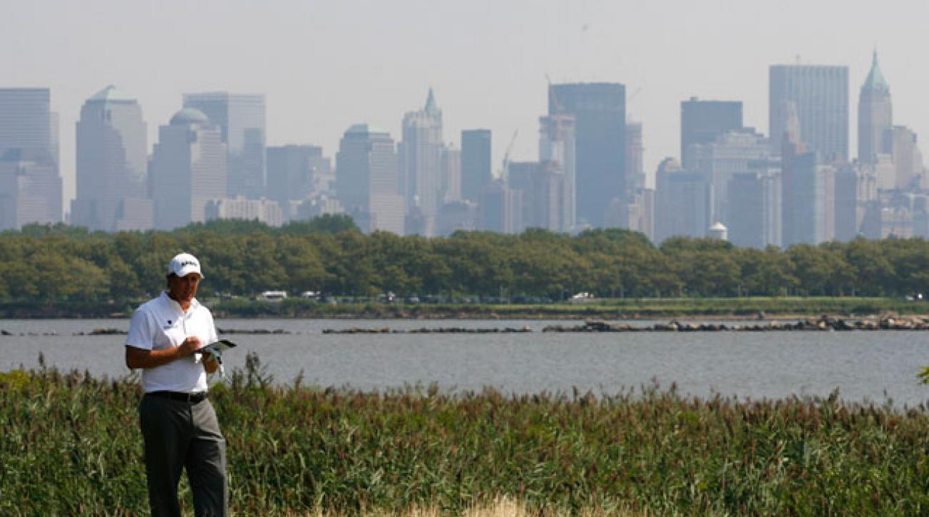 Phil Mickelson plays The Barclays at Liberty National.