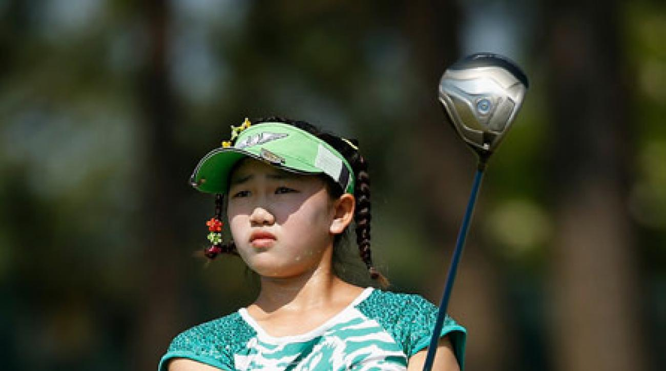 Lucy Li plays a practice round at Pinehurst No. 2.