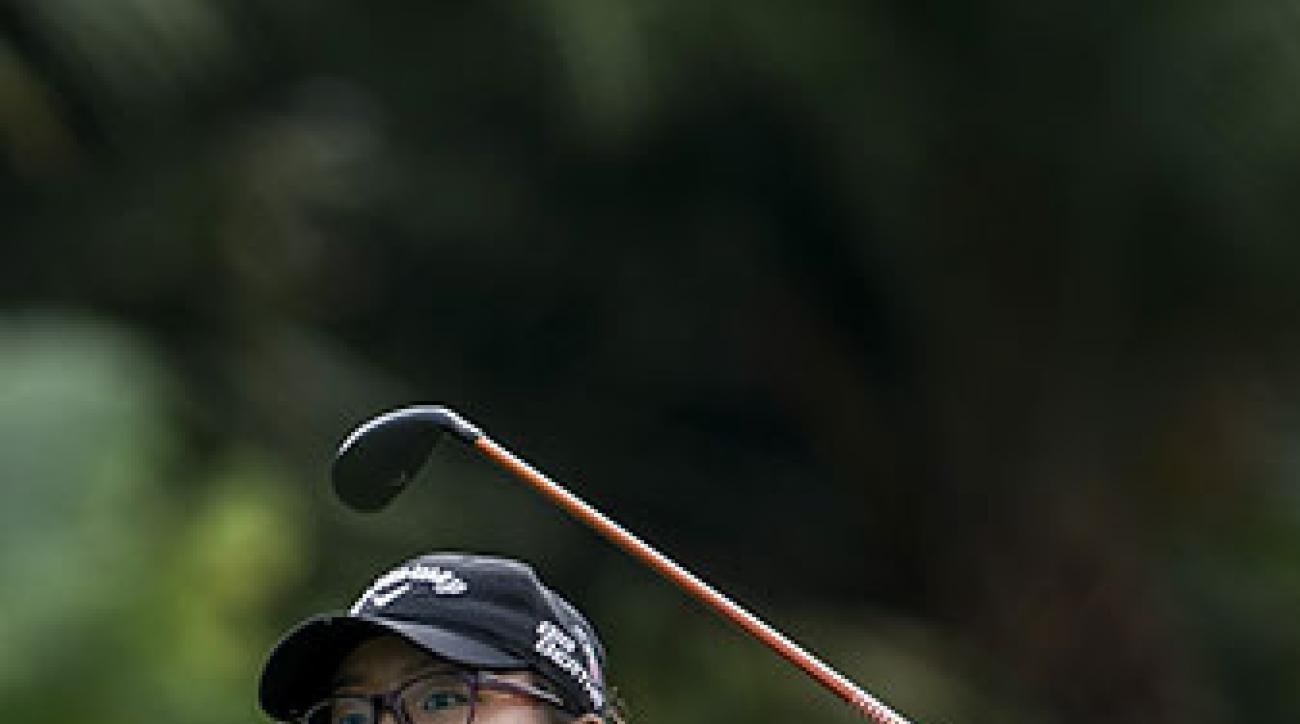 Lydia Ko tees off on the 14th hole during the third round of the Taiwan Championships.