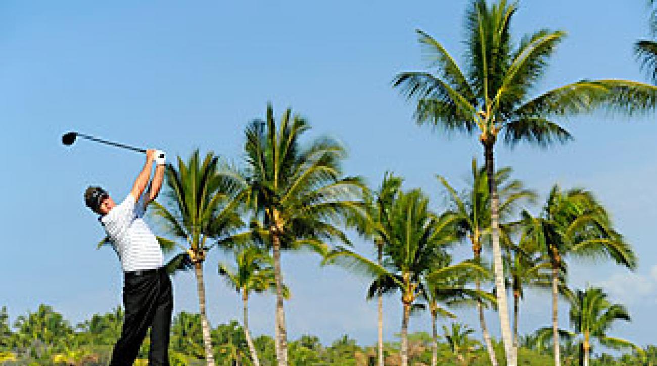 Michael Allen hits a tee shot last month at the Mitsubishi Electric Championship at Hualalai Golf Club.