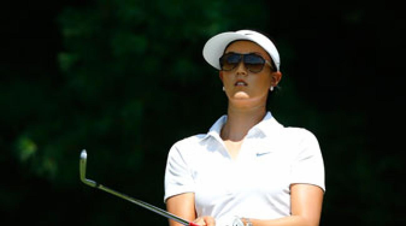Michelle Wie tees off during the first round of the Miejer LPGA Classic.