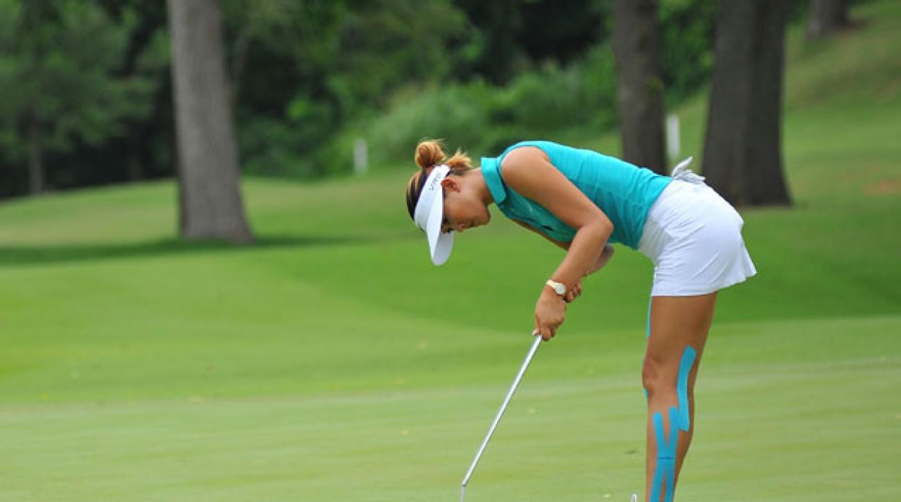 Michelle Wie putts during her first round 66 at the Northwest Arkansas Championship.