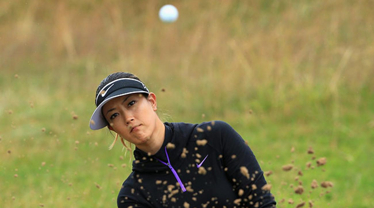 Michelle Wie hits from a bunker during the pro-am prior to the Ricoh Women's British Open at Royal Birkdale.